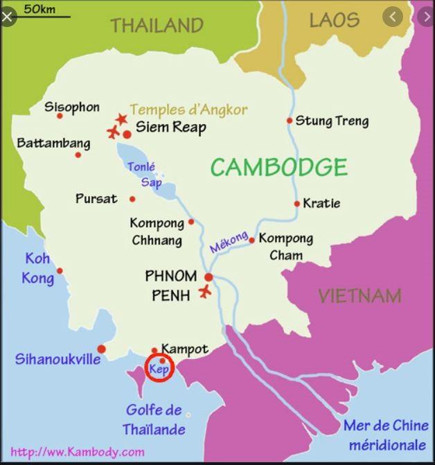 Prek Chak, ville frontière entre le Cambodge et le Vietnam, se situe à l'est de Kep
