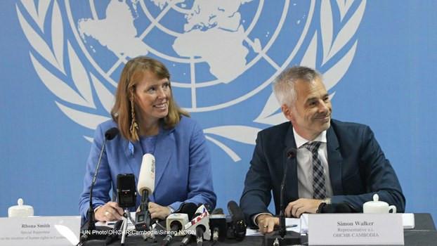 Rhona Smith, rapporteuse spéciale sur la situation des droits de l'homme au Cambodge, et David Kaye, rapporteur spécial sur la promotion et la protection du droit à la la liberté d'opinion et d'expression