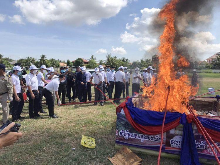 Destruction de drogues à Battambang