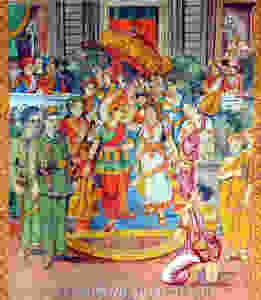 Aux scènes mythiques de la vie du Bouddha sont mêlés des personnages et objets tout à fait modernes : des voitures, des avions, le prince Sihanouk et le général De Gaulle