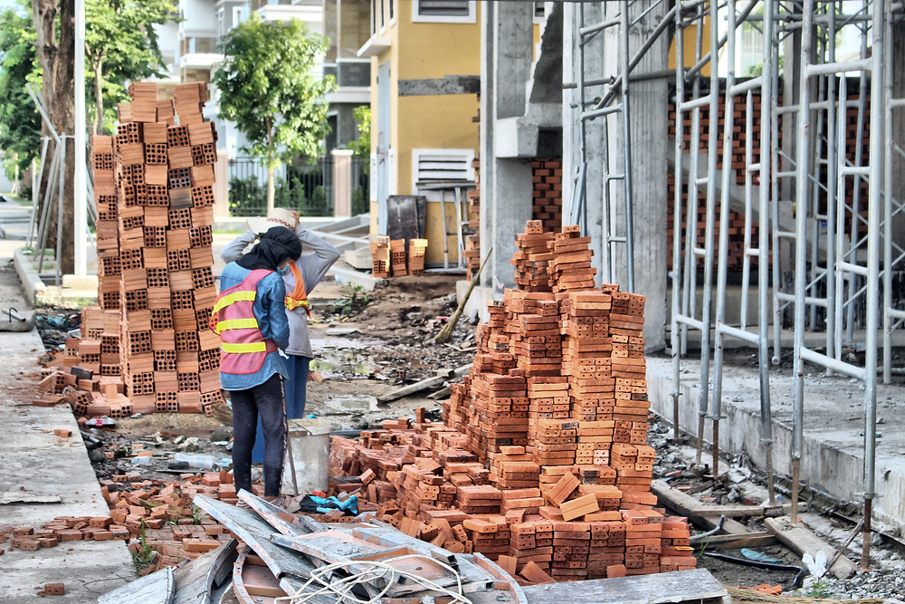 Chantier de construction à Phnom Penh