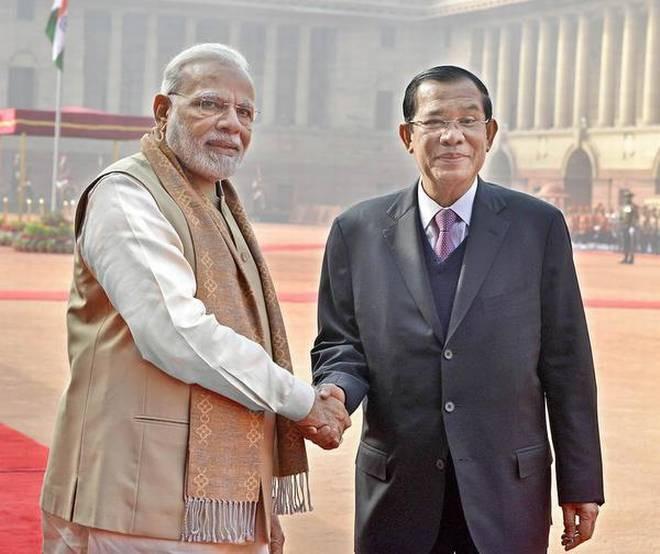 Narendra Modi et Samdech Hun Sen