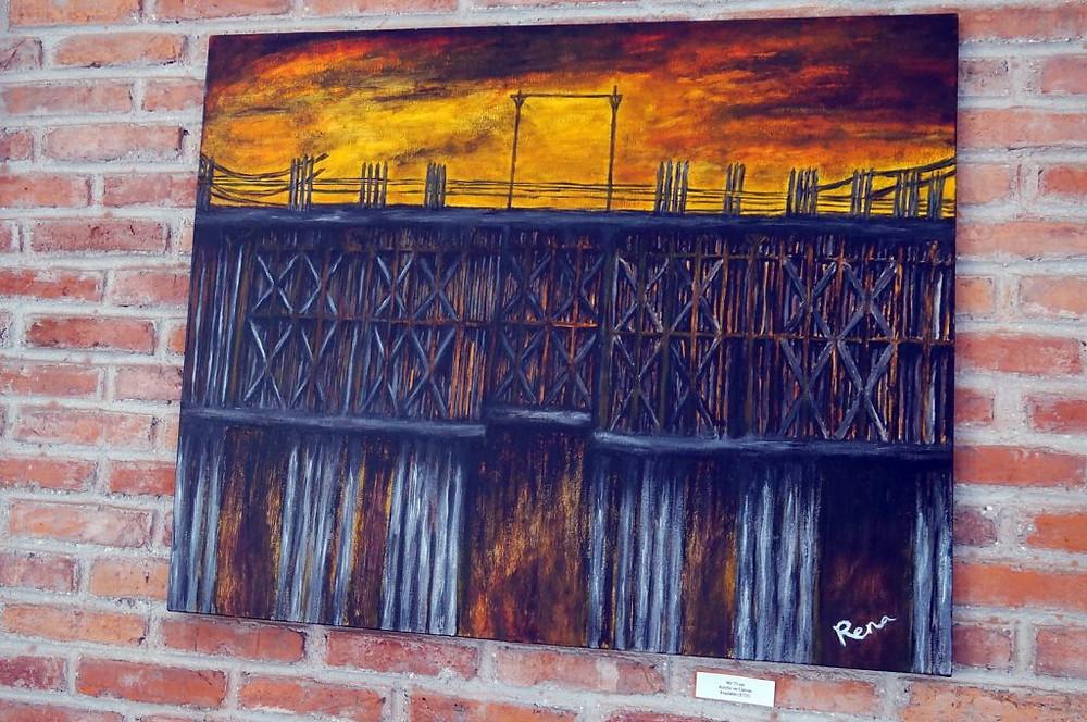 L'une des œuvres de Rena actuellement exposée à Khéma La Poste