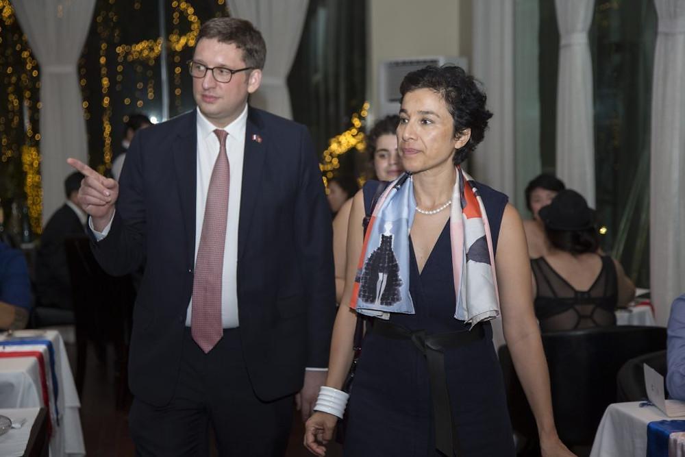 Mme Eva Nguyen Binh et le Président de la Chambre de Commerce et d'Industrie France - Cambodge, Guillaume Massin