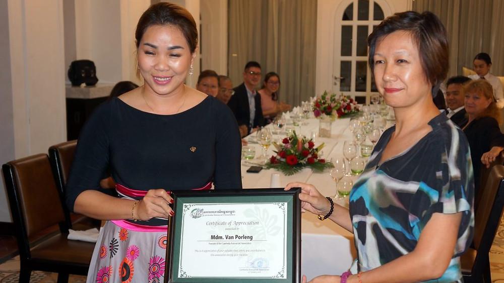 Les membres de l'association ont reçu un certificat d'appréciation