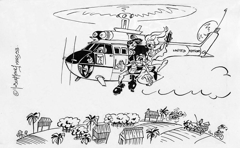 Mes chers parents, j'ai croisé un ministre français à Siem Reap. Illustration de Rimo