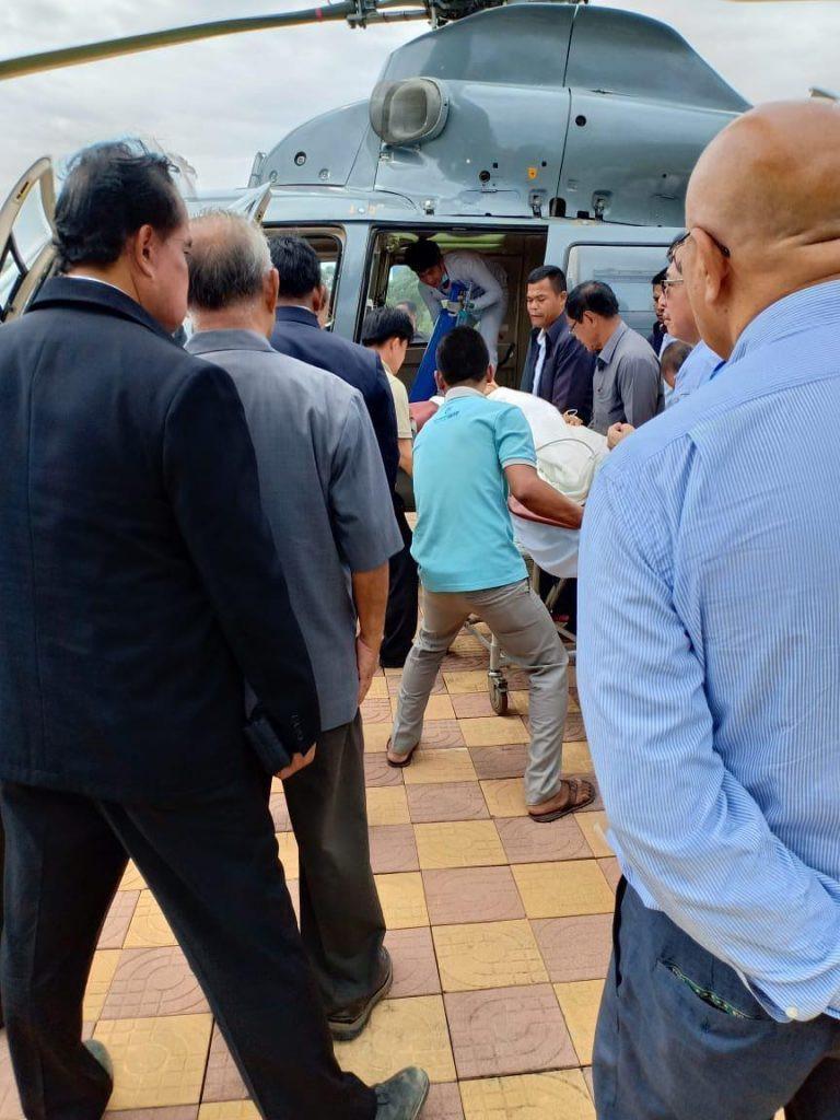 Transport du prince à Phnom Penh après l'accident