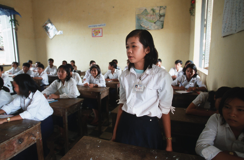 Cours de prévention à l'école au Cambodge