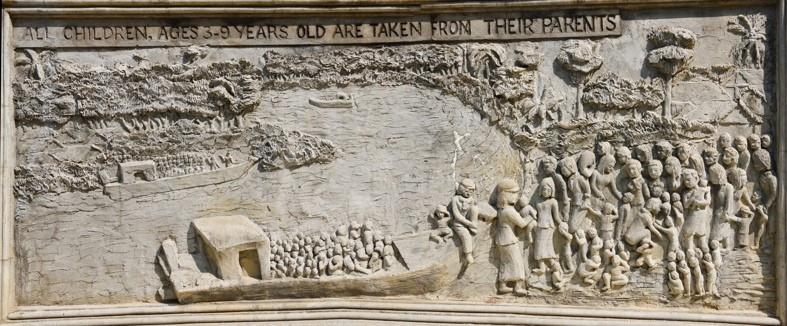 bas-relief (vat Samrong Knong) représentant les enfants enlevés à leurs parents
