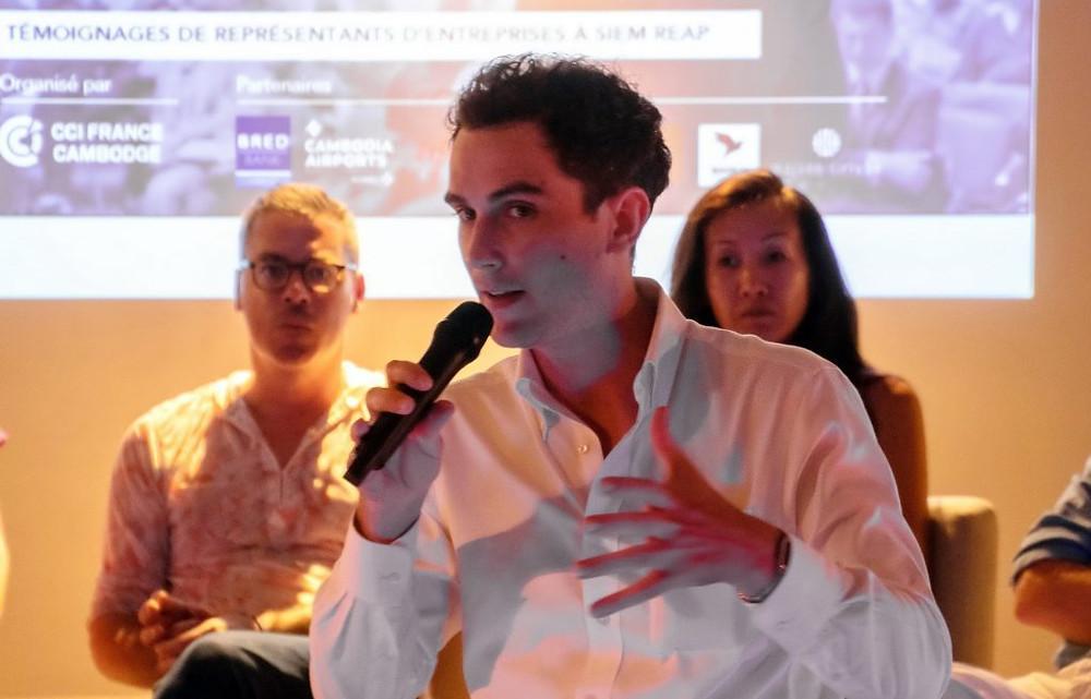 Martin Brisson, directeur de la Chambre de commerce et d'industrie France Cambodge, est venu présenter le guide «Entreprendre au Cambodge».