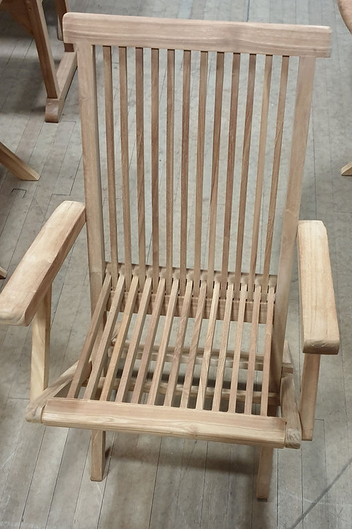 Folding teak chair with arms