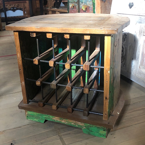 Solid Teak 8 Bottle Wine Storage Rack