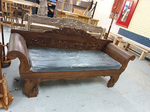 Balinese carved rolled arm daybed