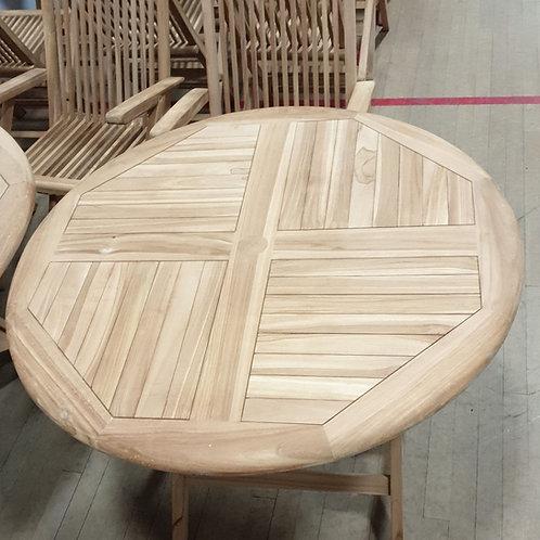 Round teak folding table