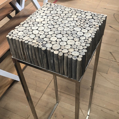 Round Wood Tall Side Table