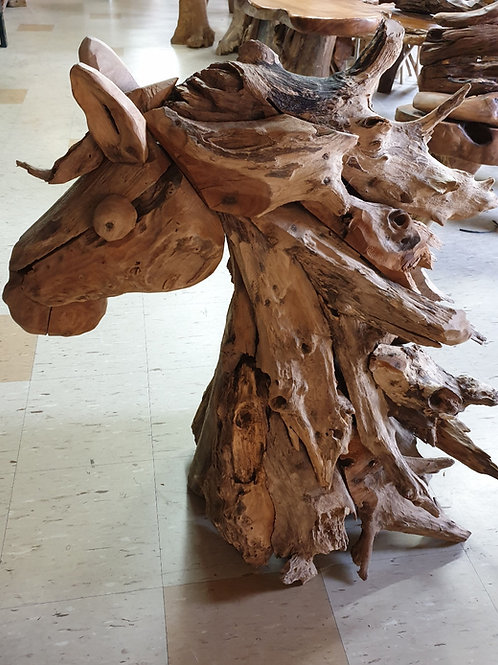 Upcycled wood horse head statue