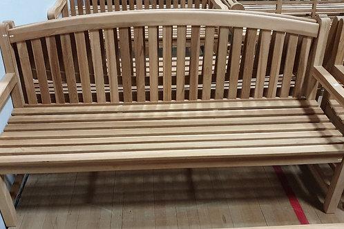 Teak bench curved back
