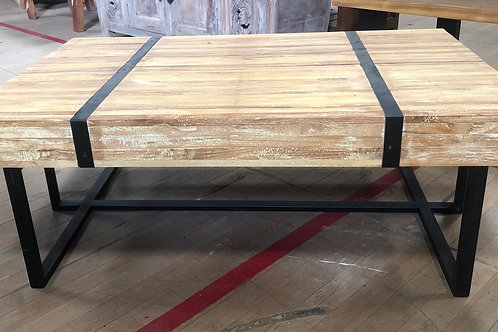 Teak Coffee Table with Metal Bands