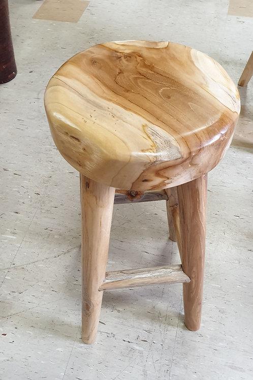 Round top teak root bar stool