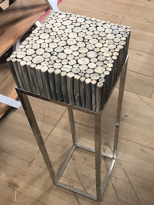 Round Wood Side Table (Medium) Chrome Frame