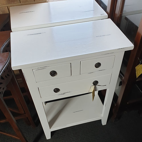 Distressed white side table
