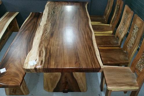 TEAK SLAB TABLE SETTING