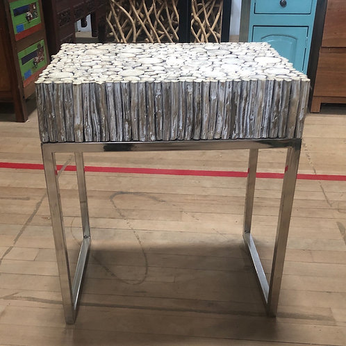 Round Wood Side Table (Chrome Frame)