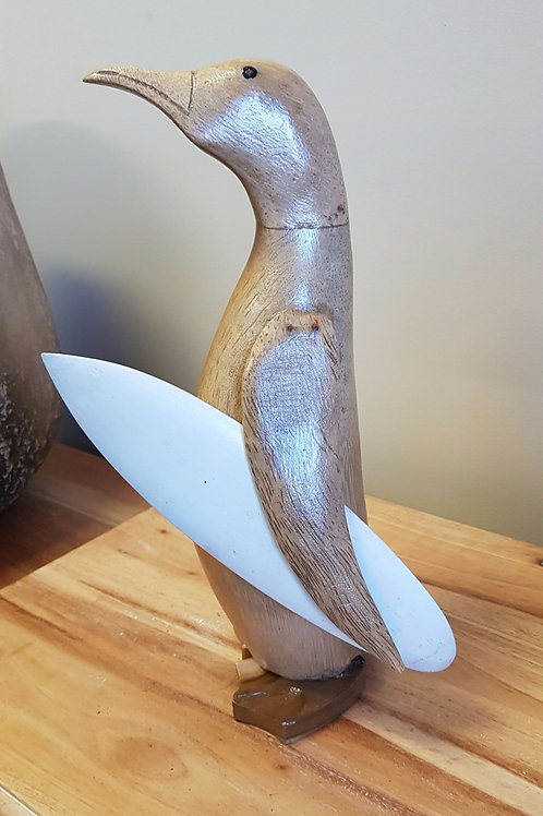 Penguin with surf board