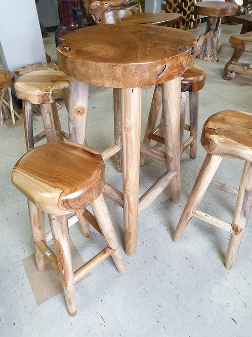 Round top teak root bar table