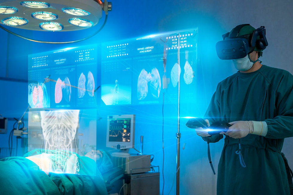 Doctors wear VR goggle discussing in ope