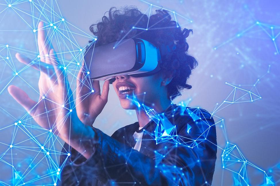 Amazed black female in modern VR glasses