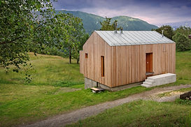 Design barn in wood within nature Dolomites