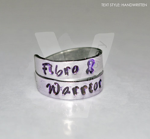 Fibromyalgia Awareness Hand Stamped 2 Wrap Ring