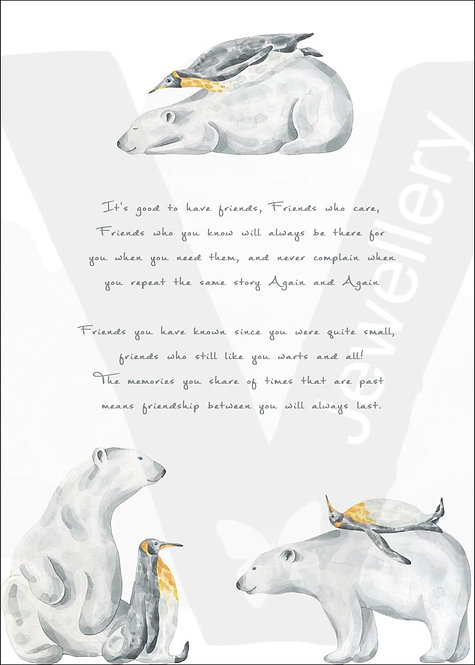 Polar Bear & Penguin Friends Quote Print Download
