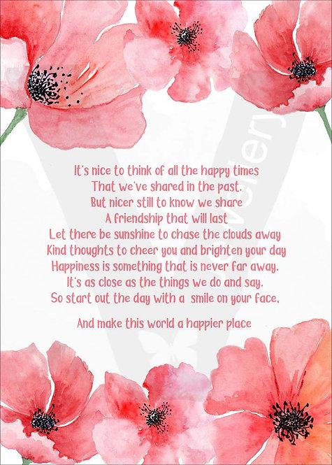 Friendship Quote Poppy Print Download