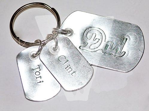 "Personalised ""Mum/Dad"" Dog Tags Keyring"