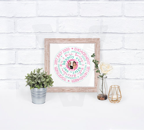 Personalised Circle Photo Text Print