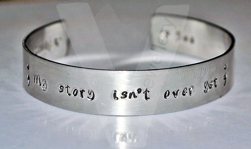 """Semicolon """"My story isn't over yet"""" Hand Stamped Bangle 6"""""""