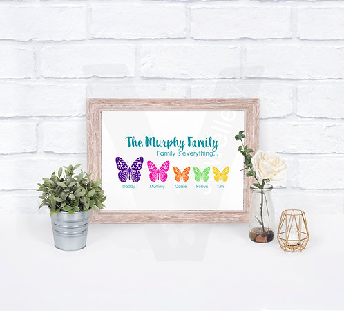 Personalised A4 Silhouette Animal Family Print *14 Designs Available
