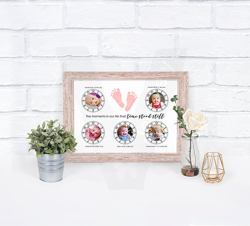 """Personalised """"Time Stood Still"""" Photo Clock A4 Print"""