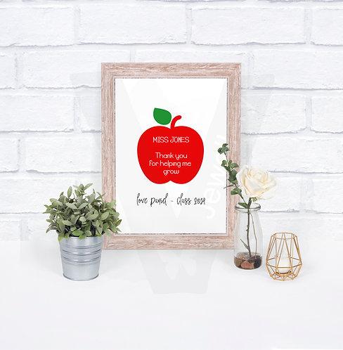 Personalised A4 Teachers Apple Print