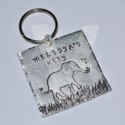 Personalised Etched Elephant Large Square Keyring