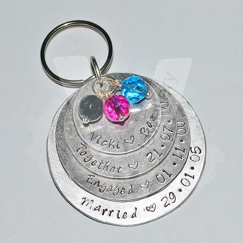 Personalised Layered Discs XL Bag Charm / Keyring