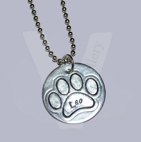 """Personalised Hand Stamped Paw Print Disc Pendant ~ 18-20"""""""