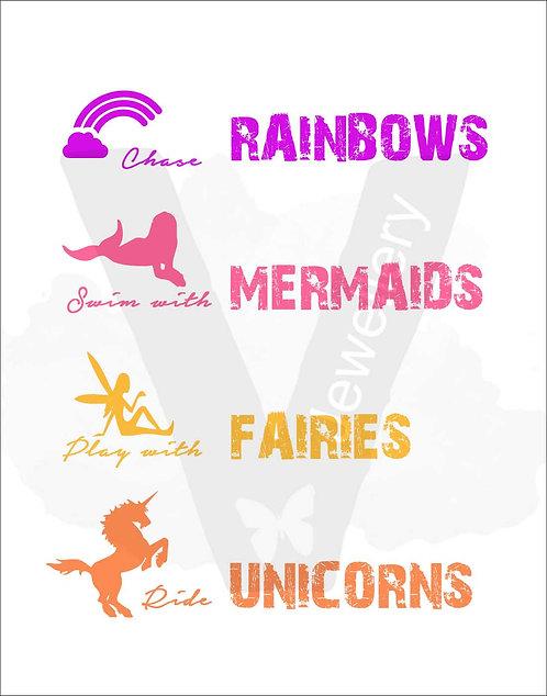 Rainbows, Mermaids, Fairys & Unicorns Quote Print Download