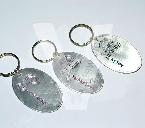 """Personalised Large Oval """"Script Initial"""" Keyring"""