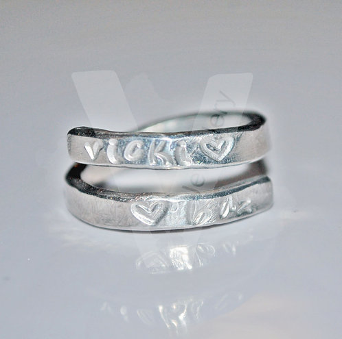 Personalised Hand Stamped Skinny Wrap Ring *Higher Quality