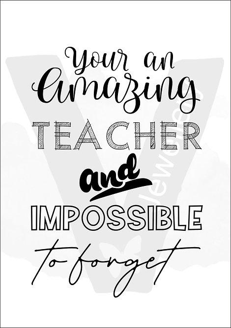 Amazing Teacher Quote Print Download