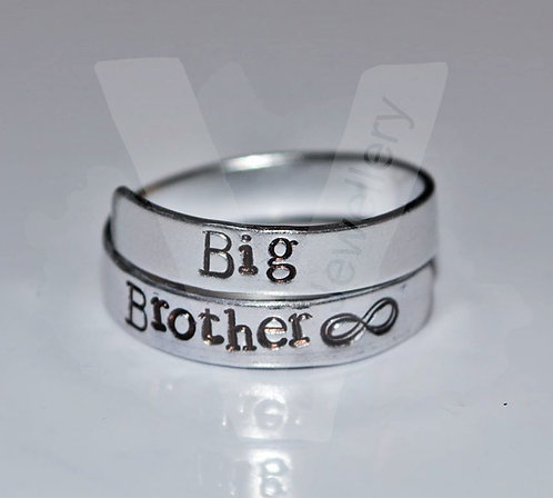 Brother Hand Stamped Wrap Ring
