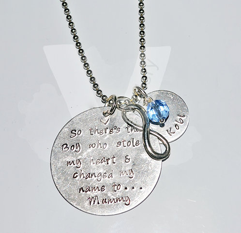 """""""Stole My Heart & Changed My Name"""" Personalised Charm Pendant ~ 20"""""""